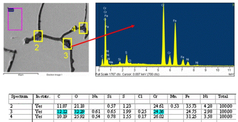Figure 8. SEM image and EDS spectrum/data showing the typical composition found at the metal grain boundaries.