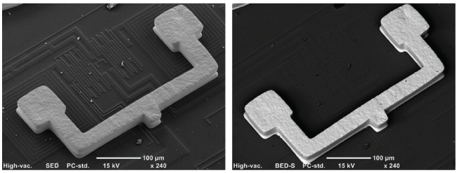 Secondary electron image, left; backscatter image, right.