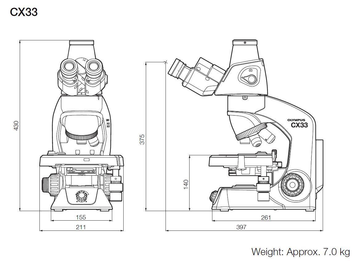 Olympus CX33 Dimensions