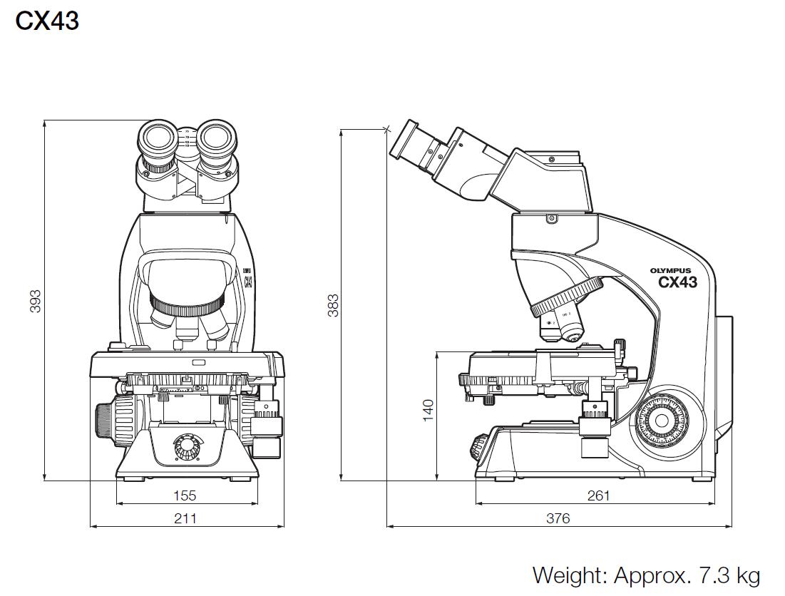 Olympus CX43 Dimensions