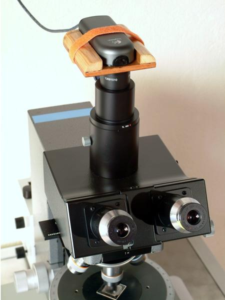 webcam used as a microscope camera