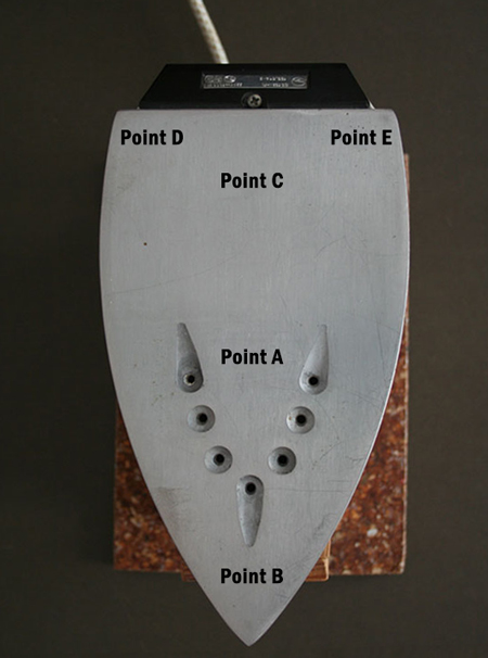 test points on iron, labeled