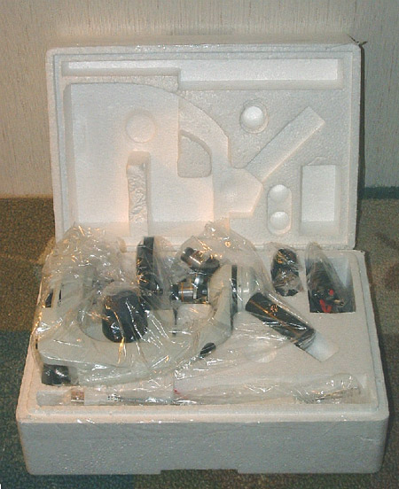 Figure 1. Unfinished styrofoam shipping box with microscope, as supplied by manufacturer.