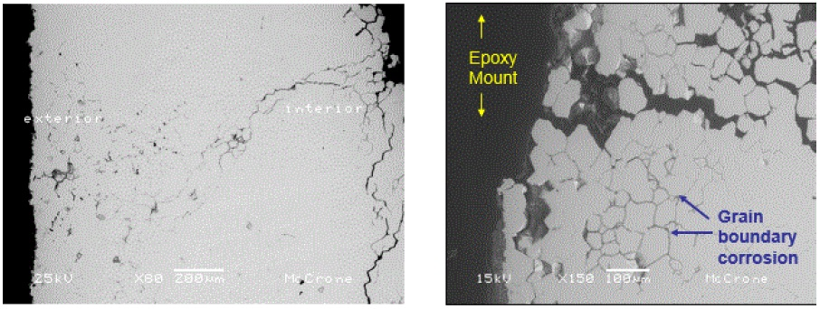 Figure 6. Secondary electron SEM images of the polished cross-section near the filling tube fracture site.