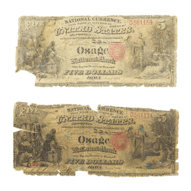 Bank notes from the 1866 robbery of the Osage National Bank. Top: serial number 1951 A. Bottom: serial number 1966 B.