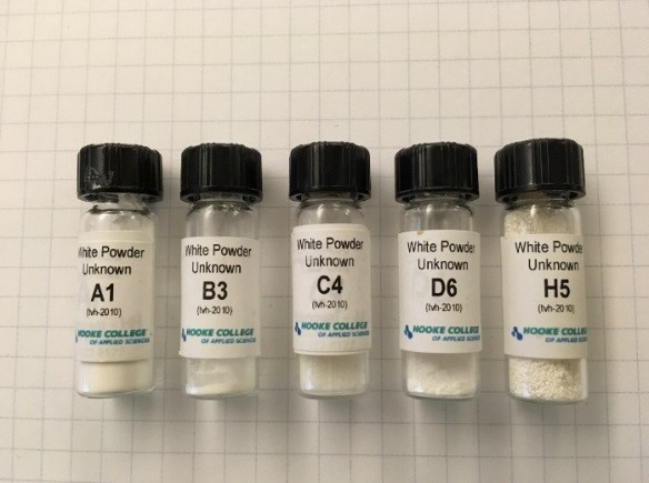 White Powder Identification practicum samples.