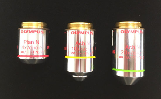 Olympus achromat objectives with chrome-like finish