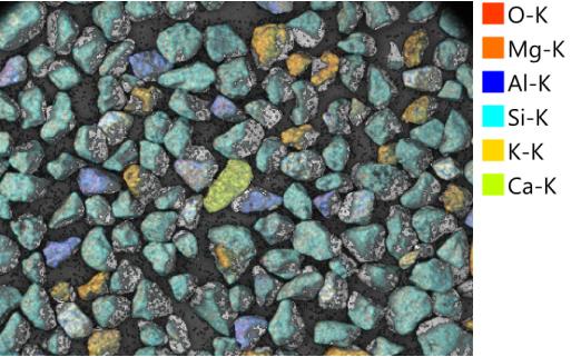 Sand, Marinette, WI, (Lake Michigan), SEM/EDS map with elemental key, 30X