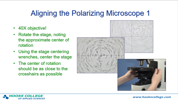 One of the slides from the microscope alignment portion of the course