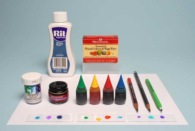 Assorted inks and dyes for microscopy experiments