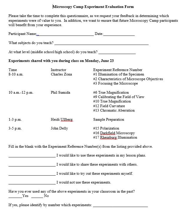 Microscopy camp evaluation form