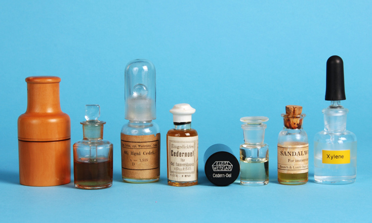 Various containers used for cedarwood oil