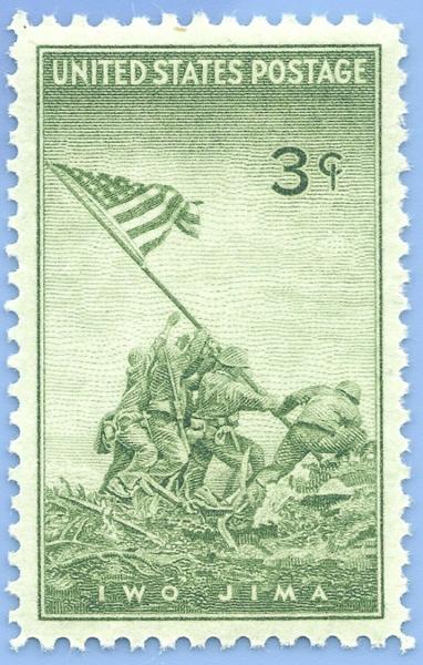 US postage stamp featuring Iwo Jima