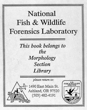 Bookplate of Nat'l Fish & Wildlife Forensics Laboratory