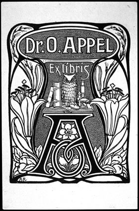 Bookplate of Dr. O. Appe