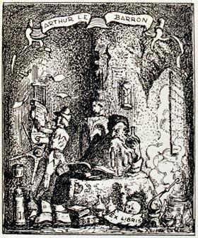 Bookplate of Arthur L.E. Barron