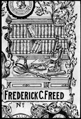 Close up of Freed's bookplate