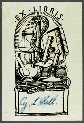 generic science-themed bookplate