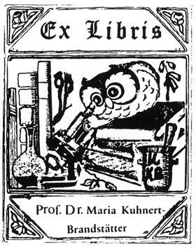 The bookplate of Professor Dr. Maria Kuhnert-Brandstätter