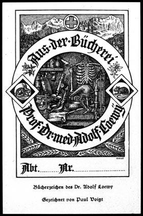 The bookplate of Professor Dr. Med.Adolf Loewÿ