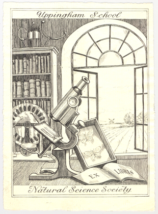 The bookplate of the Uppingham School Natural Science Society