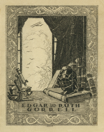 The bookplate of Edgar S. and Ruth M. Gorrell